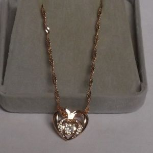 Incredible Rose Gold Womens double heart Necklace